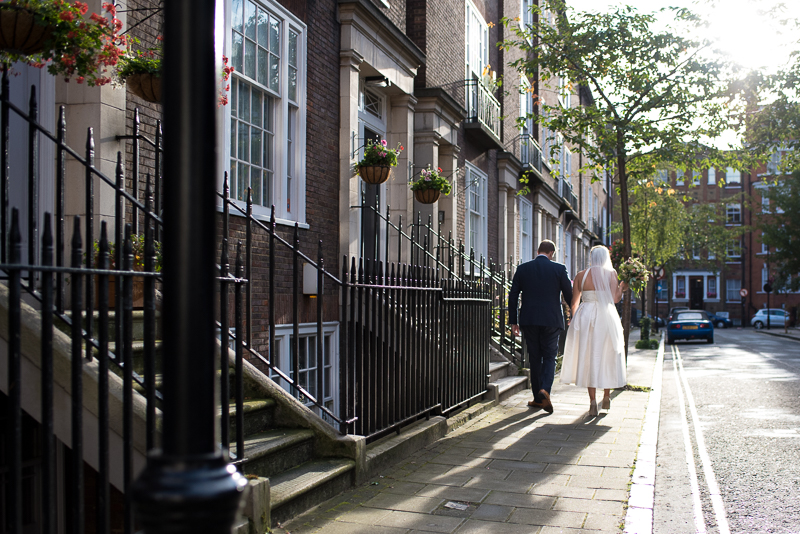 Bride and groom portrait on the streets of Marylebone