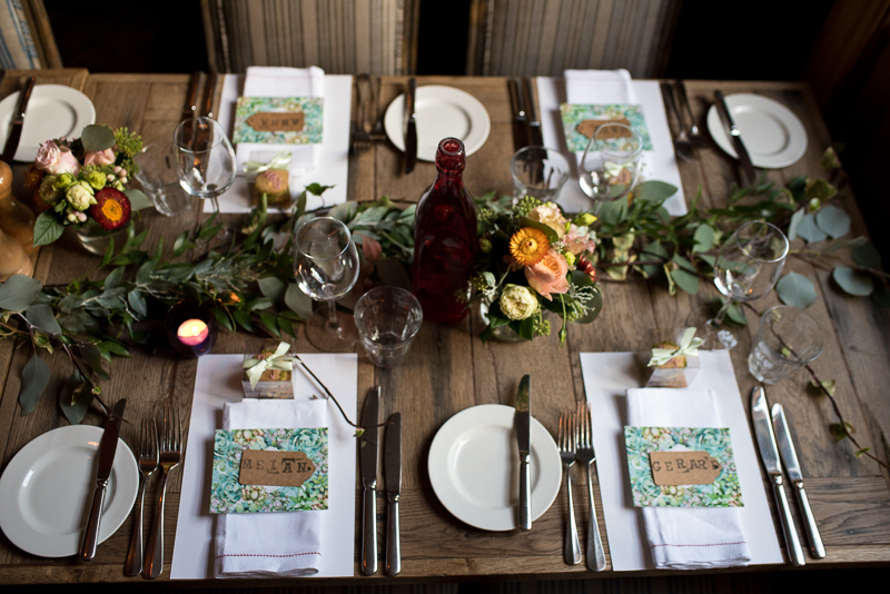 Table decorations at Grazing Goat wedding