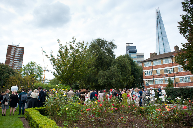Champagne reception in park near London Bridge