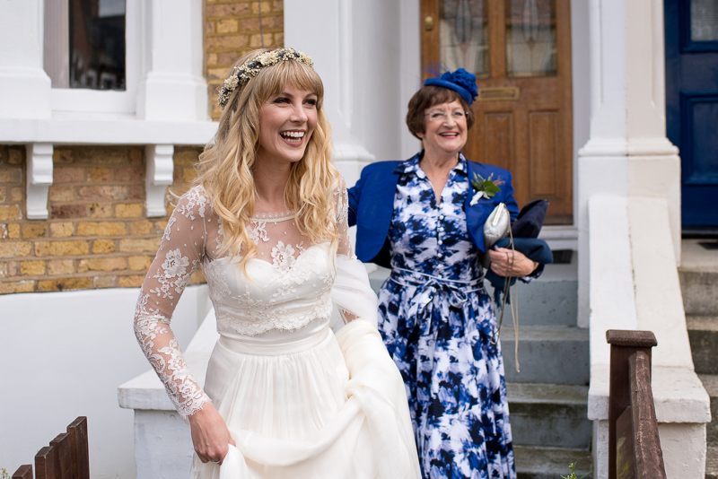Bride with Mum on way to Tanner Warehouse wedding
