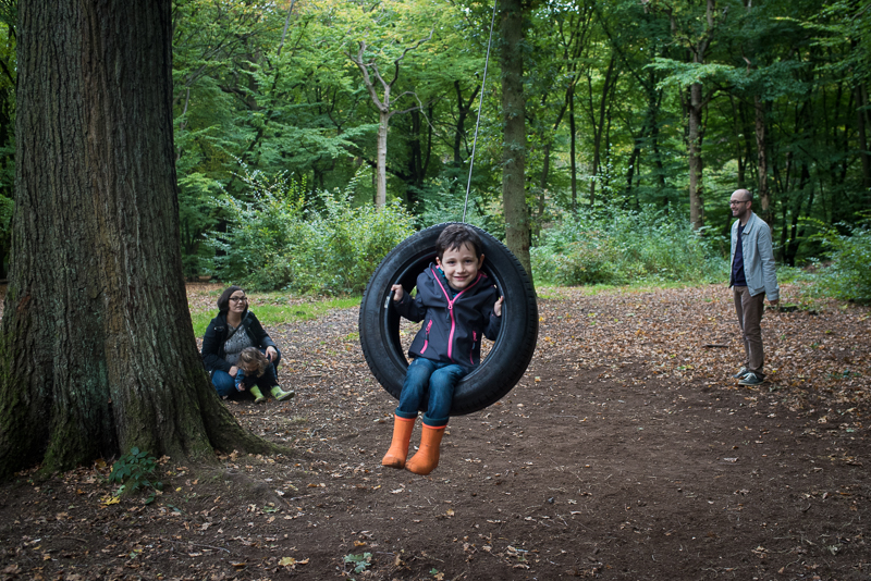 Boy on tyre swing in Coppetts Wood