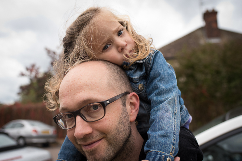 Daughter on Dad's shoulders in Muswell Hill Family Photography session