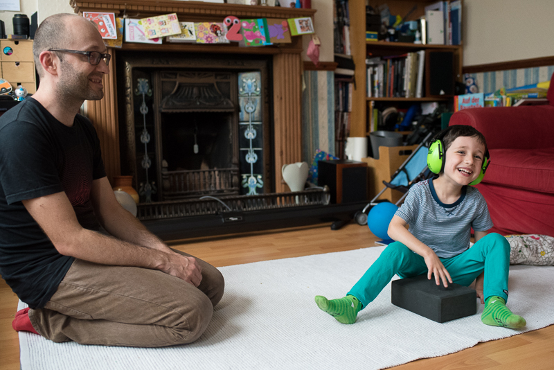 Dad and son during documentary family photography session in Muswell Hill