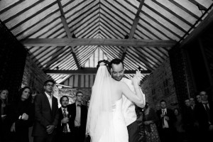 Bride and groom dancing at Bartholomew Barn wedding