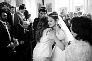 Bride hugs Mum during wedding ceremony