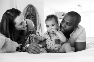 Black and white family portrait Palmers Green