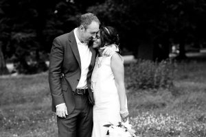 Black and white couple portrait bride and groom