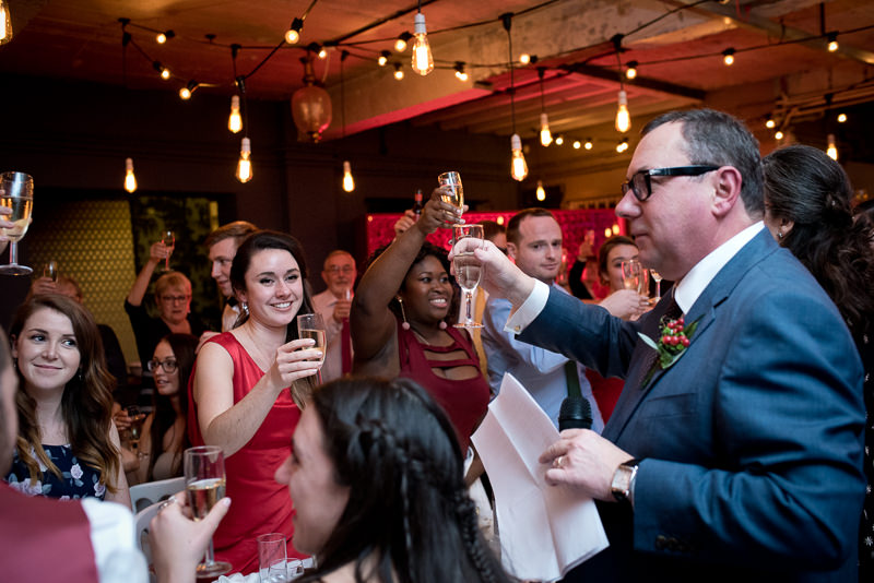 Dad gives toast at One Friendly Place wedding receoption