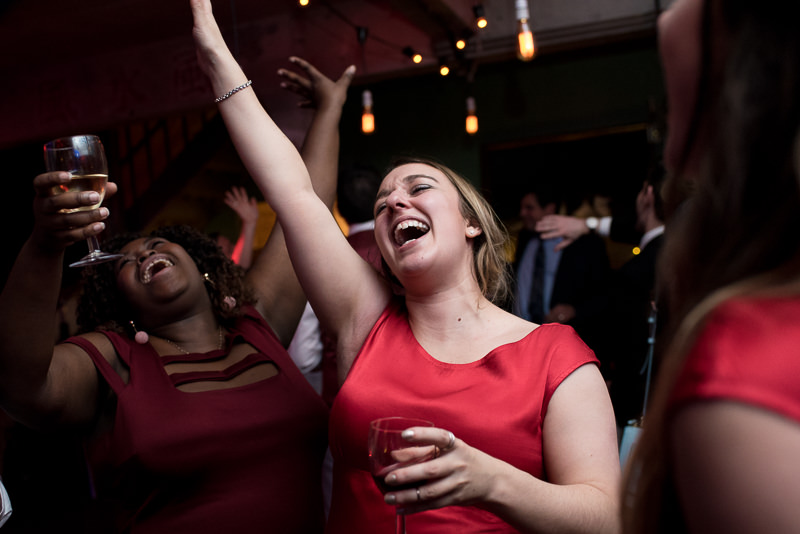 Bridesmaid dancing at One Friendly Place