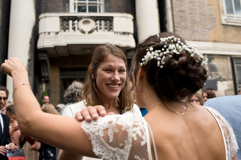 Bride and best friend at Stoke Newington Town Hall wedding