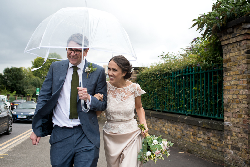 Bride and groom make their way from Stoke Newington Town Hall to West Reservoir Centre