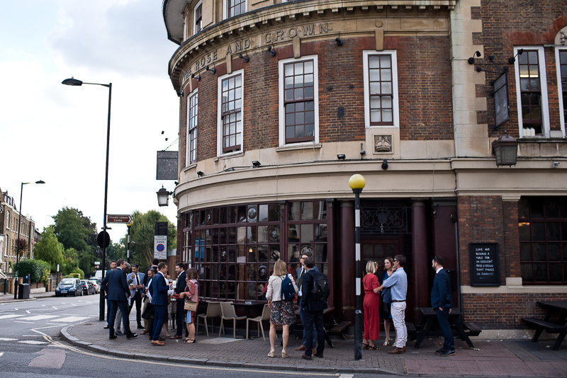 Guests outside Rose and Crown opposite Stoke Newington Town Hall
