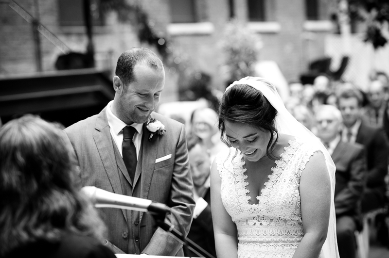 Outdoor ceremony at Devonshire Terrace wedding