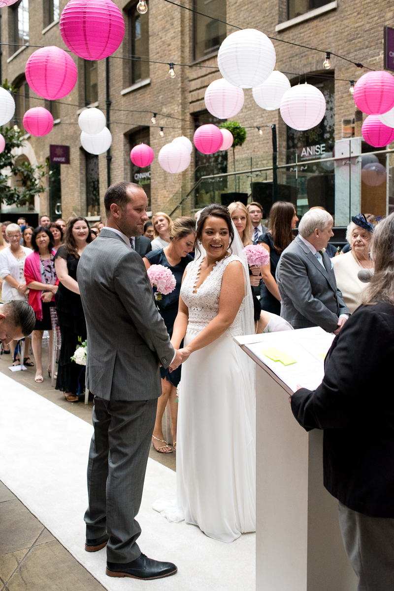 Bride and groom getting married at Devonshire Terrace
