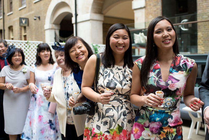 Guests smiling at Devonshire Terrace wedding