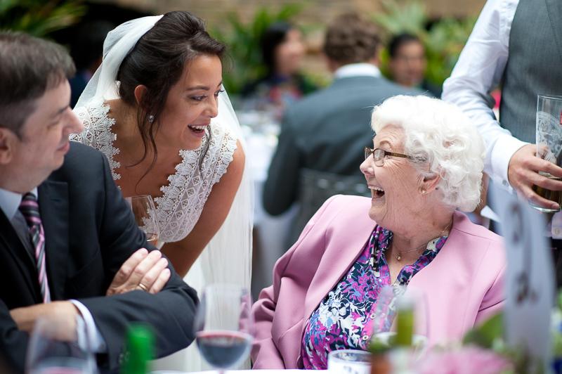 Bride greets grandma at Devonshire Terrace wedding