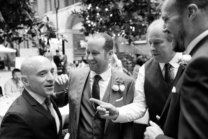 Groom with friends at Devonshire Terrace wedding