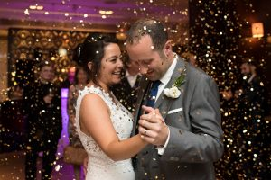 First dance with confetti bomb at Devonshire Terrace wedding