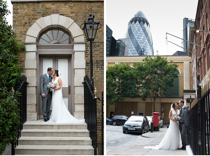 Bride and groom portraits in front of the Gherkin