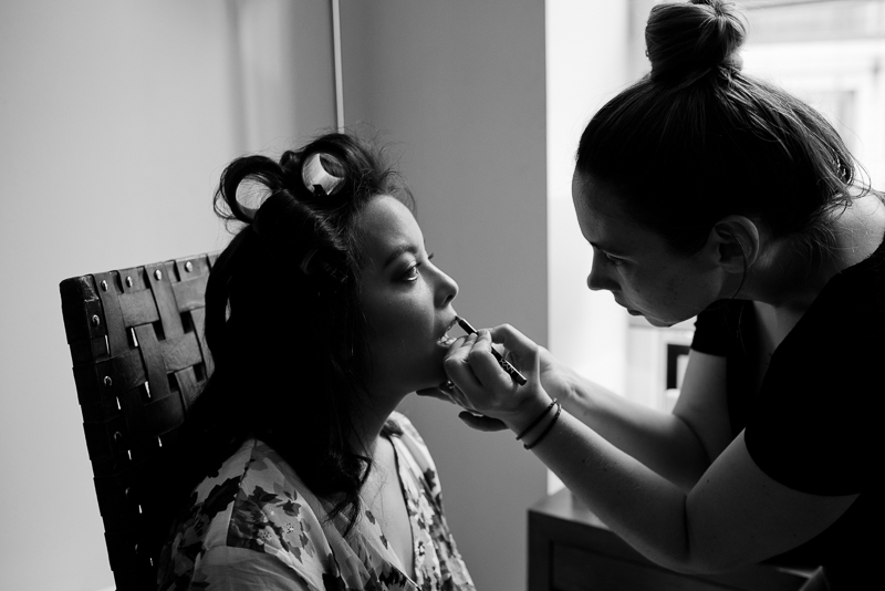 Bride getting ready for Devonshire Terrace wedding
