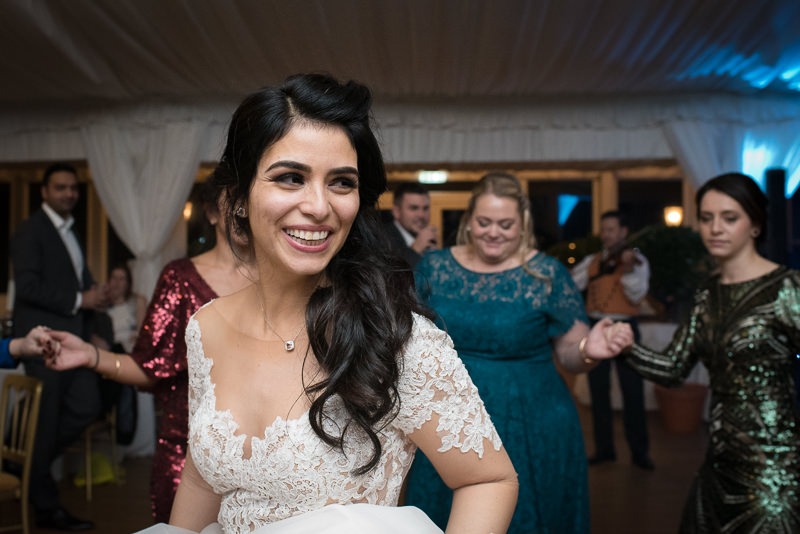 Bride on the dancefloor at Boreham House wedding