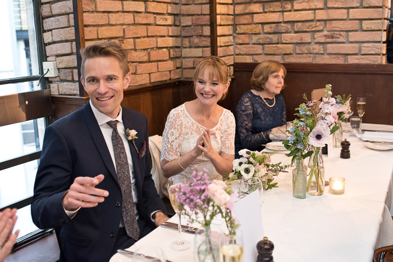 Guests have wedding breakfast at White Swan