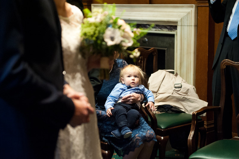 Son watches wedding ceremony at Camden Town Hall