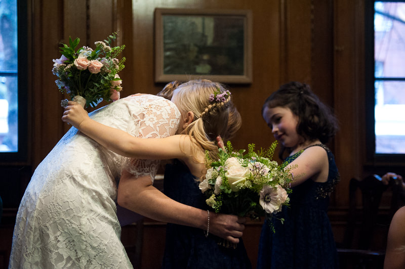 Mother hugs daughter at Camden Town Hall wedding