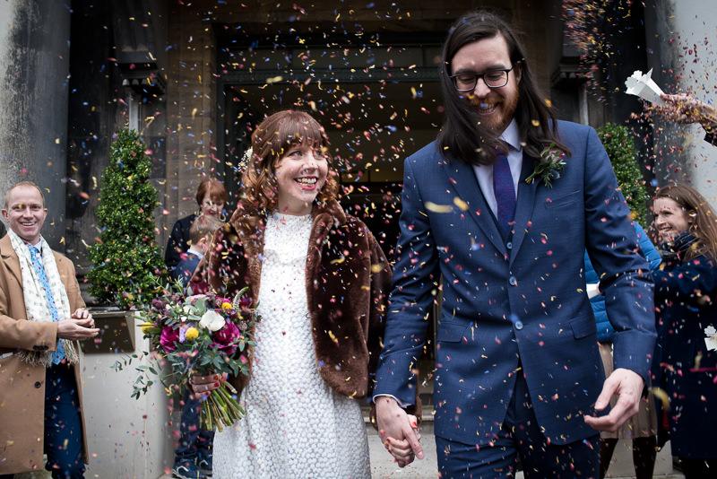 Confetti outside Stoke Newington Town Hall wedding