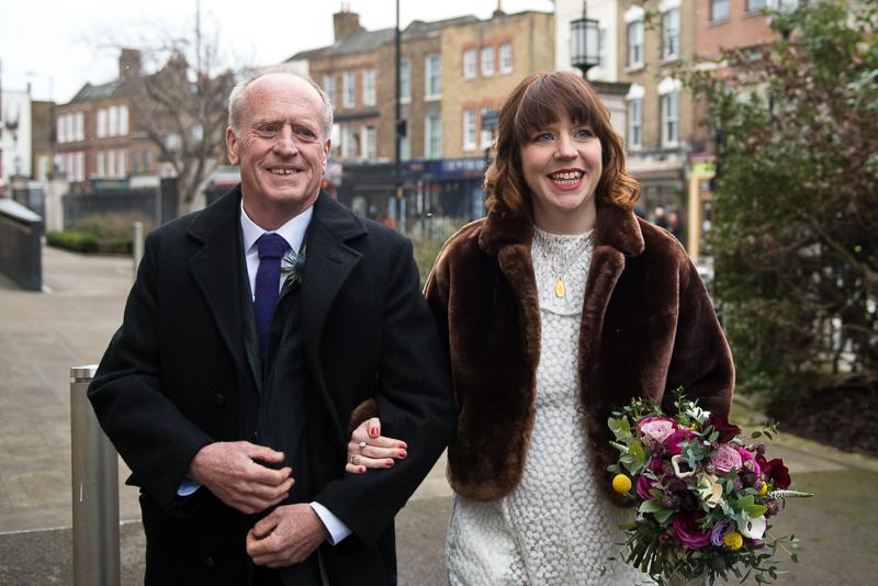 Bride arrives for Stoke Newington wedding