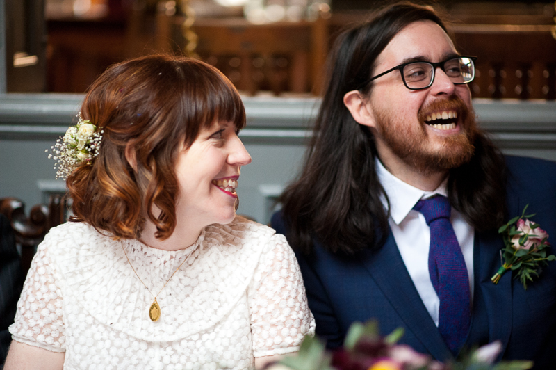 Bride and groom react to speeches at the Londesborough Pub