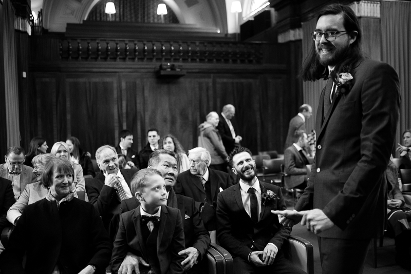 Groom and guests before the ceremony at Stoke Newington Town Hall