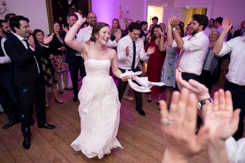 Busy dancefloor at Cambridge Cottage wedding