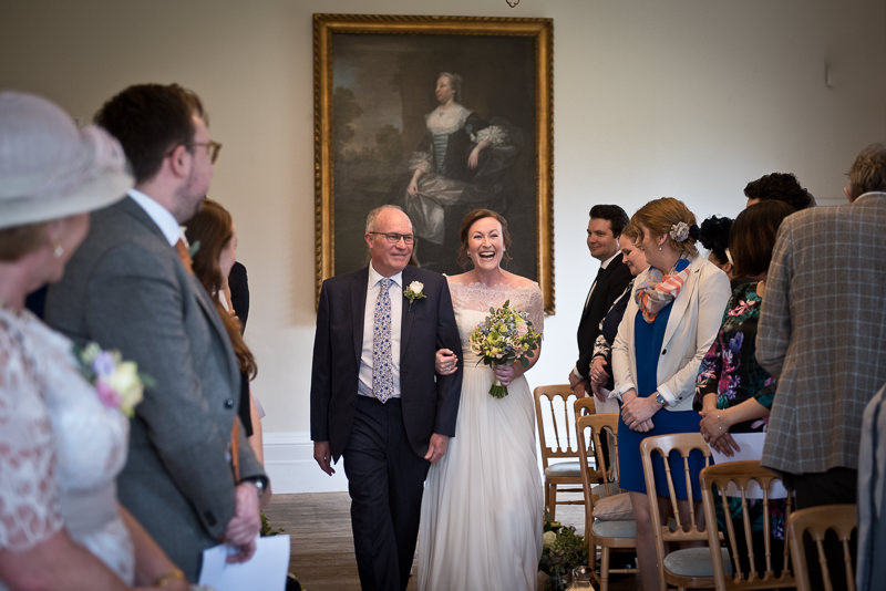 Dad walks Dad up the aisle at Cambridge Cottage wedding