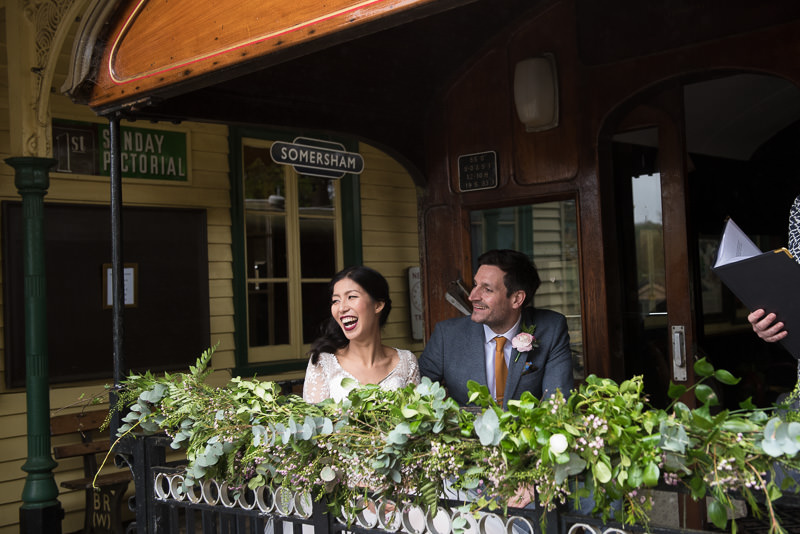 Bride and groom get married on train at Fawley Hill