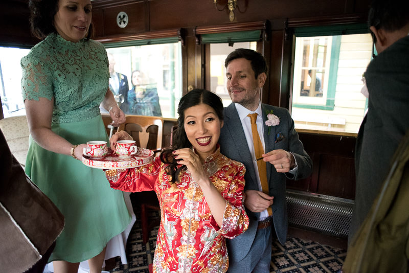 Chinese tea ceremony at Fawley Hill wedding