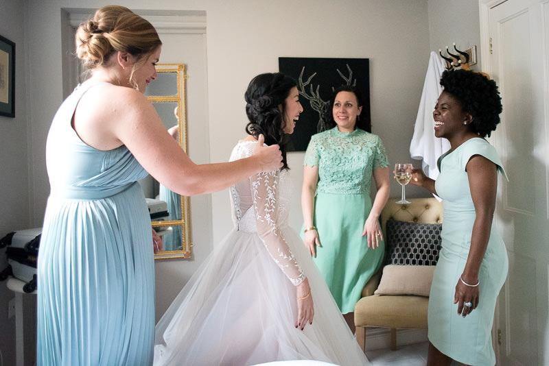 Bride gets ready for Fawley Hill wedding