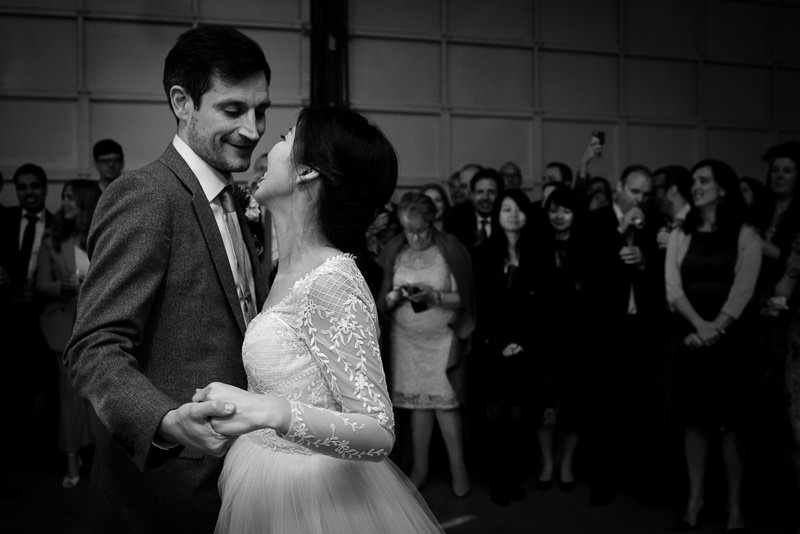 Bride and groom during first dance at Fawley Hill wedding