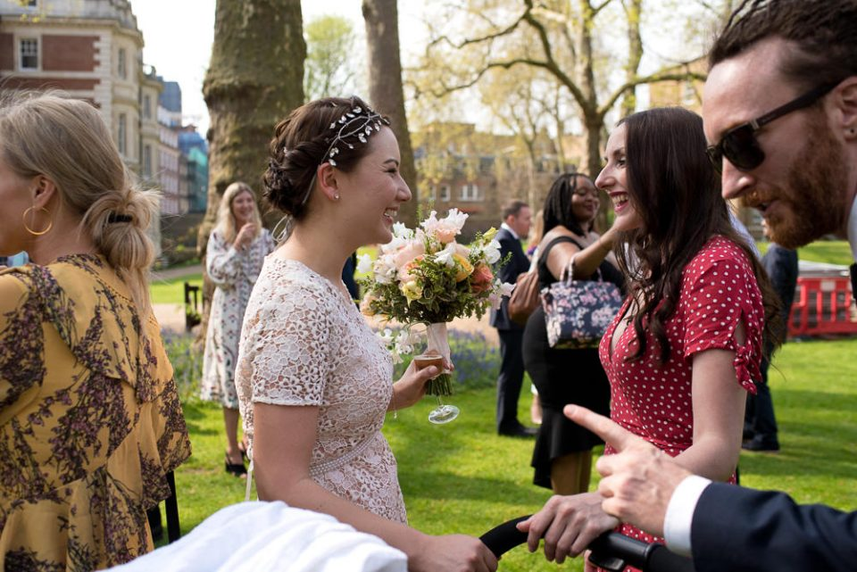 Gray's Inn wedding photography of bride mingling with guests