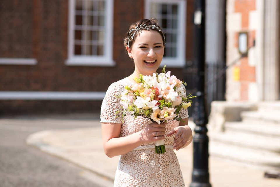 Gray's Inn wedding photography of bride arriving at the Honourable Society