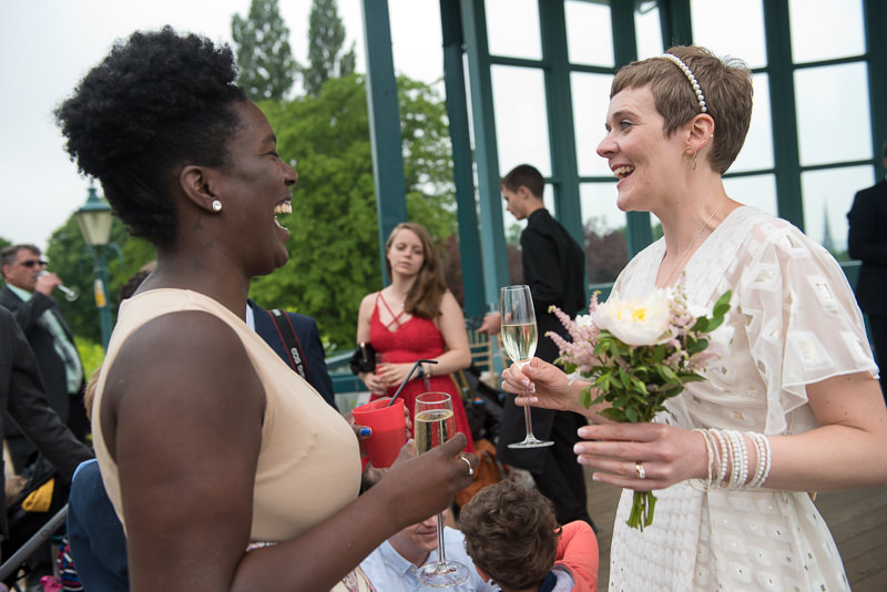 Drinks reception after Horniman bandstand wedding