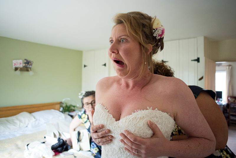 Bridal preparation for North Hill Farm wedding