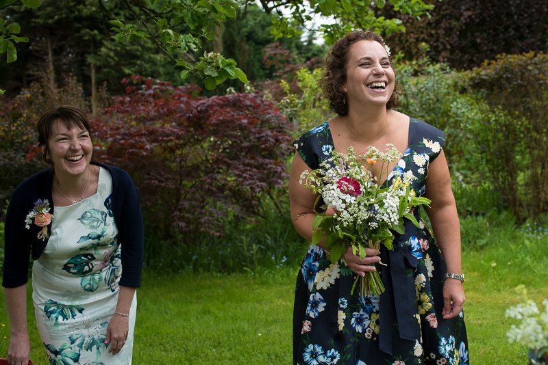 Bridesmaids laughing at North Hill Farm wedding