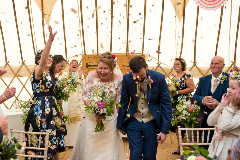 Confetti at yurt wedding