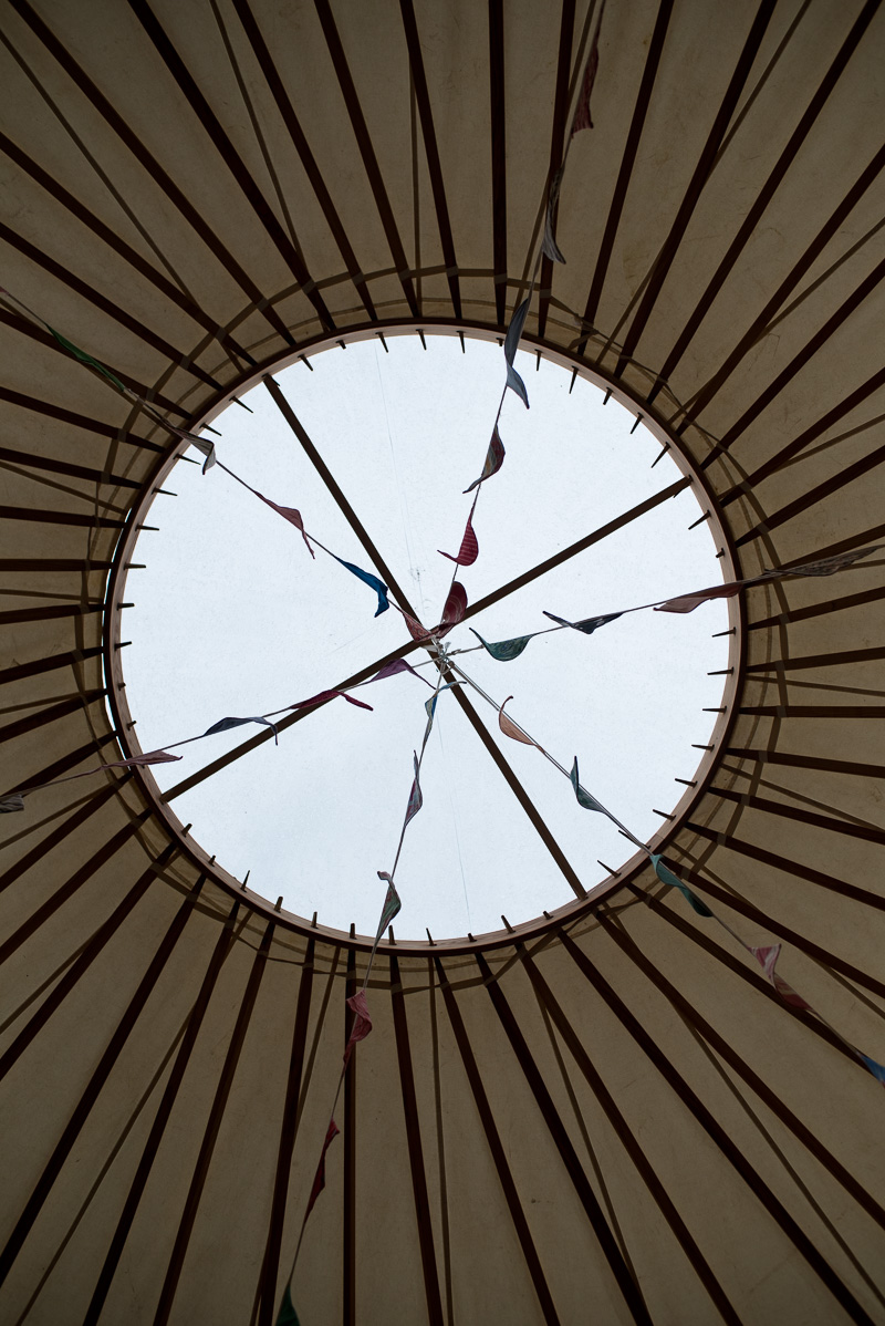 Ceiling of yurt at North Hill Farm wedding