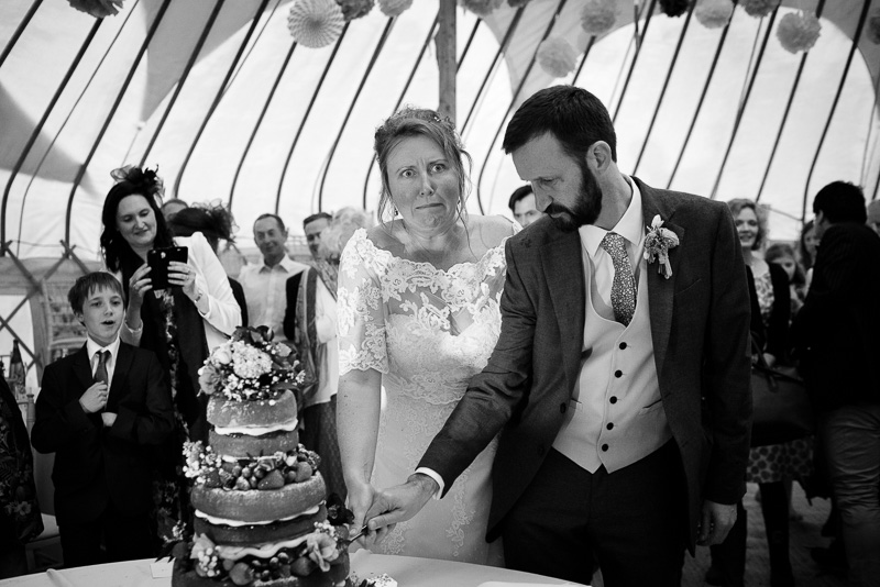 Cake cutting at North Hill Farm wedding