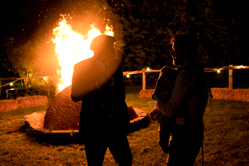 Campfire at North Hill farm wedding