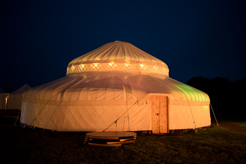 Yurt at night at North Hill Farm
