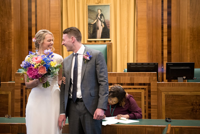 Bride and groom at Hackney Town Hall