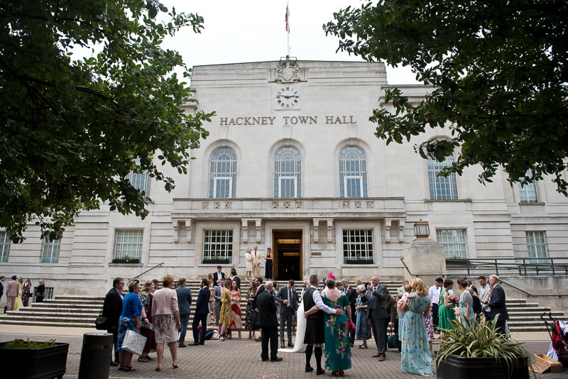 Guests mingle outside Hackney Town Hall